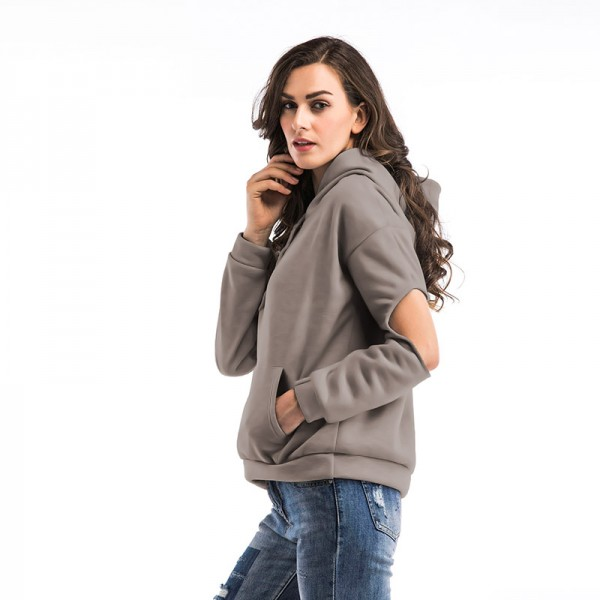 Amazon express Europe and America new casual solid color hooded sweater women's autumn and winter wear Plush loose hollowed out top