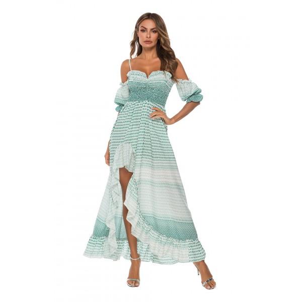 External model real shot cross border foreign trade sling cable laying off shoulder short sleeve irregular dress beach skirt 4149