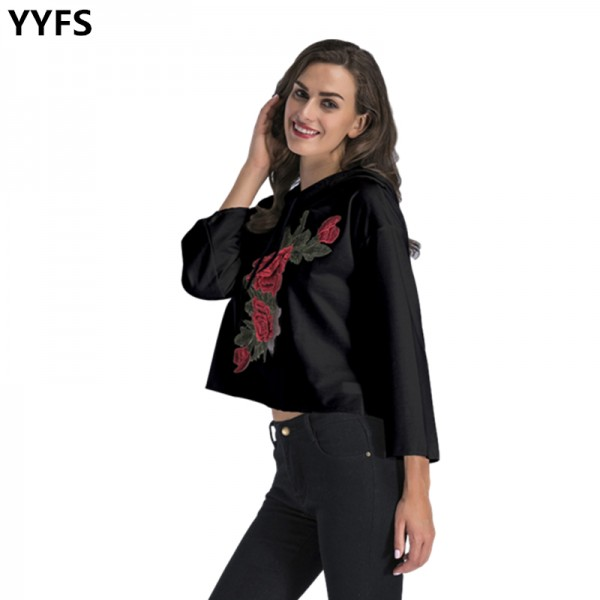 Amazon express Europe and America new casual short embroidered hooded sweater women's autumn and winter loose and versatile top