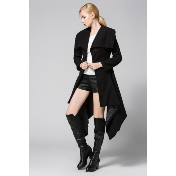 EBay foreign trade Lapel coat irregular medium length woolen coat windbreaker 8283