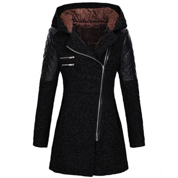 Amazon Women's autumn and winter mid long hooded loose diagonal zipper woolen windbreaker coat composite plush cotton jacket
