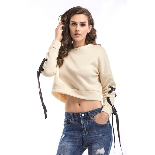 Amazon express Europe and America new solid color lace up short sweater women's autumn and winter wear loose and thin round neck top