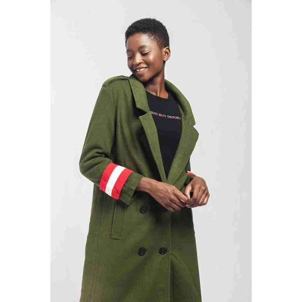 Real shot quick selling popular European and American cross border Lapel color matching long sleeve women's woolen overcoat 8262 in stock