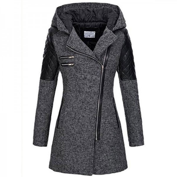 Eaby Amazon popular women's clothing autumn winter mid long hooded loose diagonal zipper woolen windbreaker coat thick cotton coat