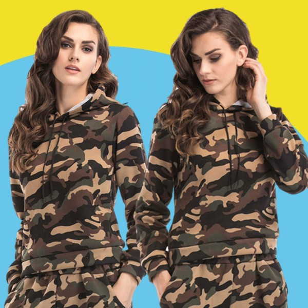 Amazon express Europe and America new camouflage hooded sweater women's autumn and winter wear Plush loose lace up casual top