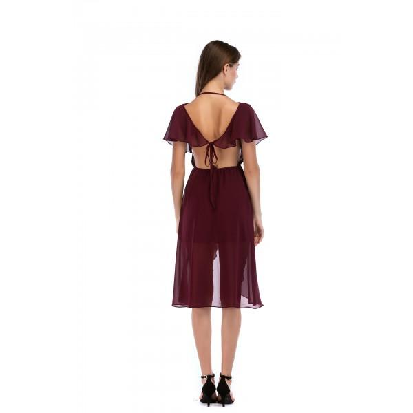 Cross border Amazon new Chiffon irregular V-neck open back slim dress 8359 in stock