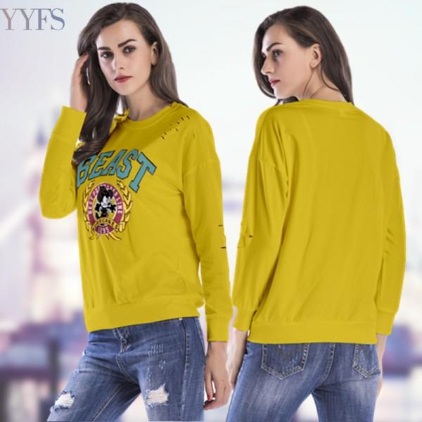 Amazon express European and American sports casual cartoon printed sweater women's autumn loose crew neck versatile top