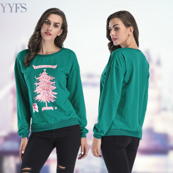 Amazon express European and American new Christmas tree Print sportswear women's autumn loose crew neck casual top