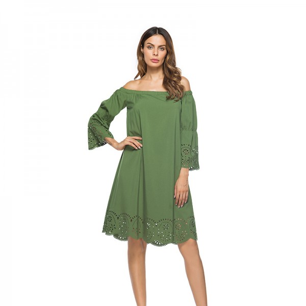 Real shot of Amazon Women's 7 / 3 sleeve skirt with burnt flower cut out dress 8513 in stock