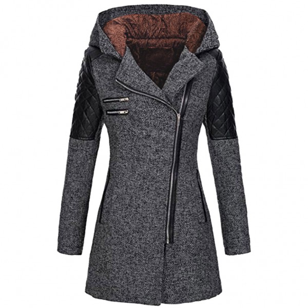 Amazon Women's autumn and winter mid long hooded l...