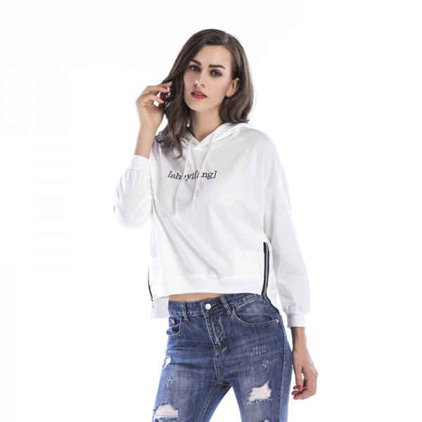 Amazon express European and American pure color embroidery casual hooded sweater women's autumn and winter side zipper loose top