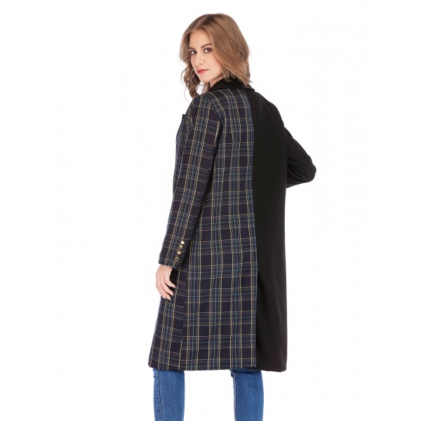 Real shot foreign trade Lapel Plaid color matching long sleeve split mid length woolen overcoat 43430 in stock
