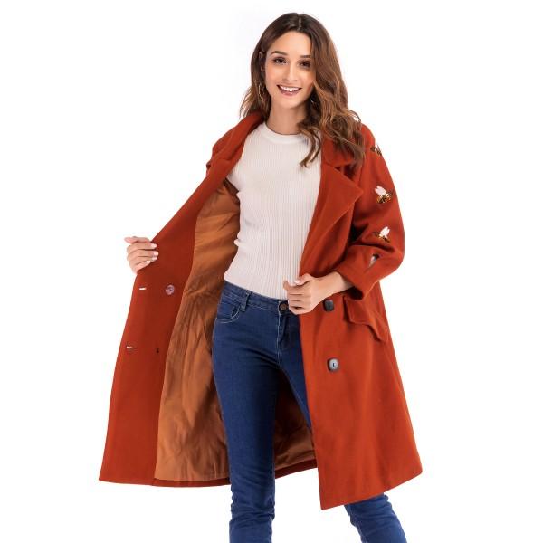 Real shot express cross border new embroidered bee belt woolen coat tie coat 8627 in stock