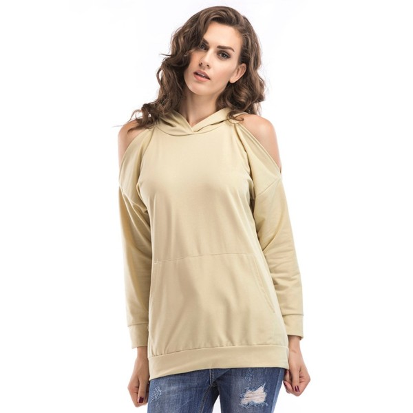 Amazon express Europe and America new solid color sexy off shoulder hooded sweater women's autumn loose mid length top