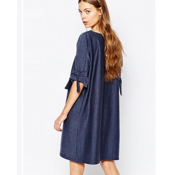 EBay express bandage bow loose A-line denim dress ...