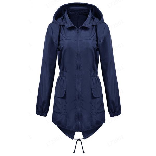 Amazon's new waterproof lightweight raincoat with hood and waist retraction outdoor windbreaker mountaineering suit, women's jacket