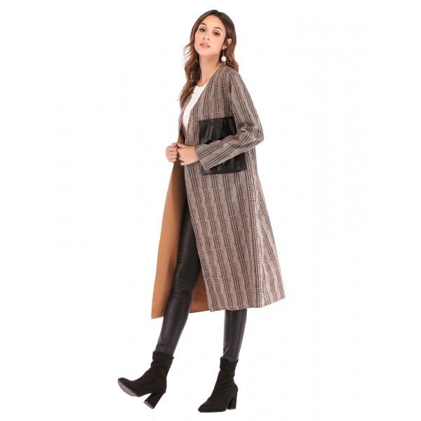 Real shot Amazon deerskin checked V-neck leather pocket long sleeve buttonless women's windbreaker cardigan 41314