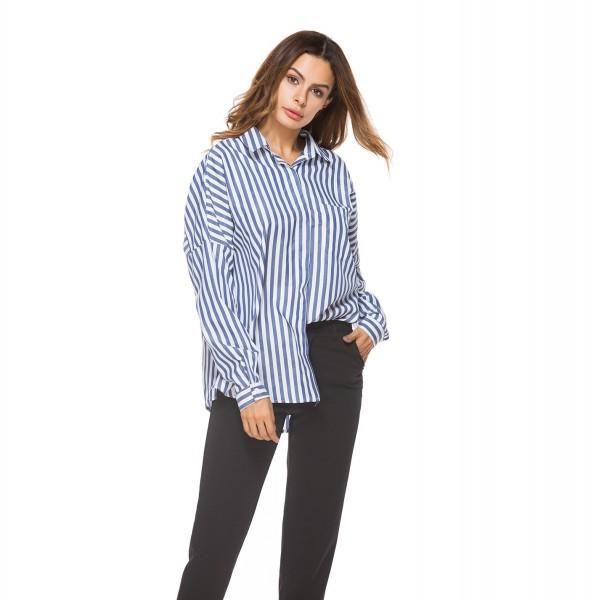 Outer model real shot Amazon stripe pocket long sleeve tuxedo fat mm back lace up women's shirt 8519 in stock