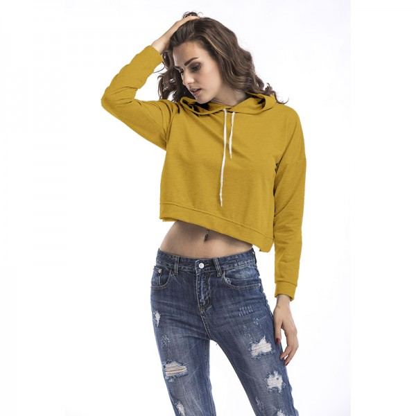 Amazon express Europe and the United States pure color Casual Short hooded sweater women's autumn back slit irregular top