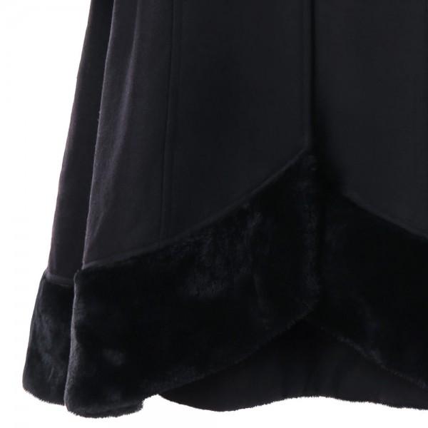Sumiton Amazon wish hot selling fall / winter 2017 Europe and America fur collar hooded woolen cloth big swing windbreaker 9888