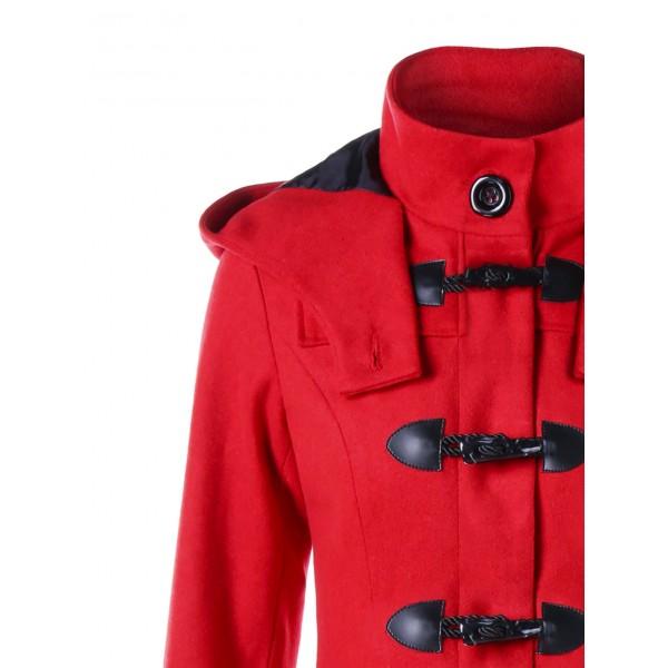 Foreign trade Amazon popular irregular ox horn double button long windbreaker hooded woolen coat 9666