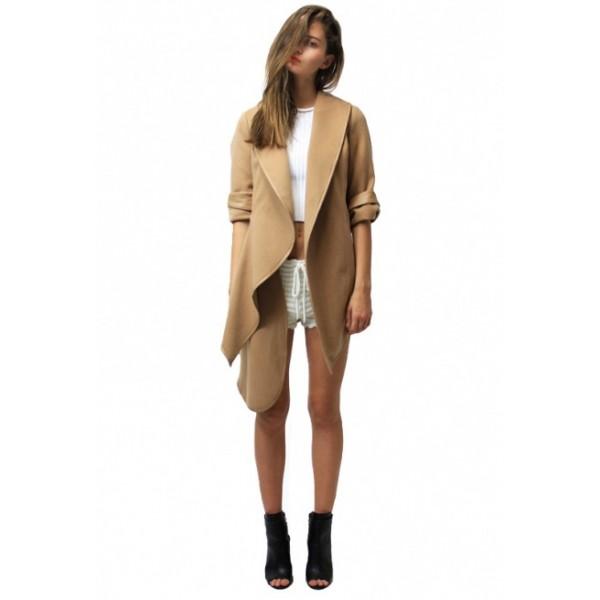 2017 Amazon Europe and the United States new long irregular windbreaker tweed coat double faced coat 9105