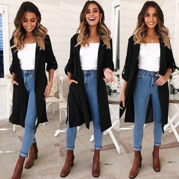 9211 eBay Amazon autumn winter leisure new long coat windbreaker