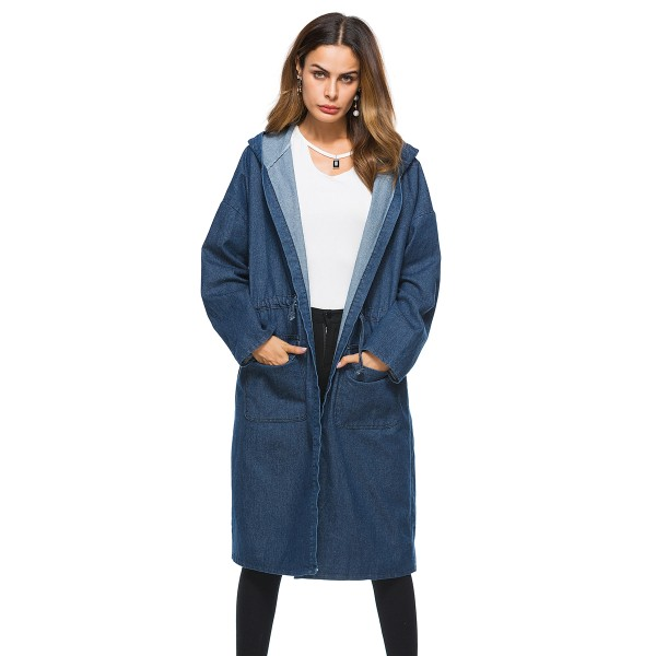 Large women's coat Amazon foreign trade autumn popular medium and long denim hooded windbreaker cross border trend