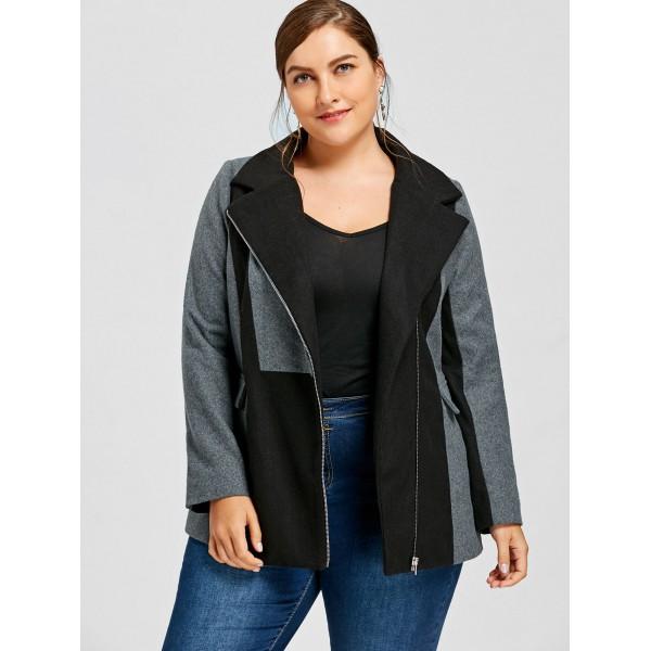 New Amazon side zipper pocket stitching large women's woolen coat windbreaker 9336